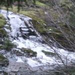 Creek of ice feeding the Sooke River