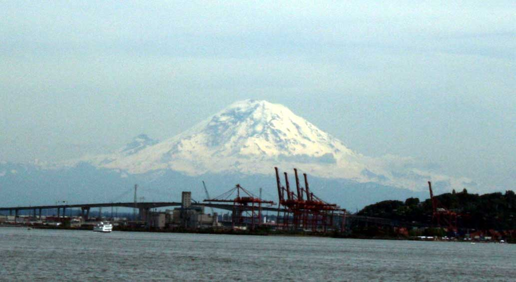 Mt. Raineer behind the Seattle Port