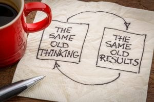 """closed loop drawin on napkin with 2 text boxes reading """"the same old thinking"""" and """"the same old results"""""""